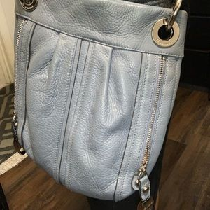 Handbags - Gray leather crossbody, adjustable strap.